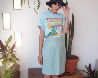 90s Vintage High Waist, Sage Ivory Green Thin Stripes Above The Knee Skirt