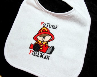 Baby boy bib, firemans baby, 0 to six months, Firefighter, Future Fireman, baby shower, gift for firefighter, embroidered bib, gift for