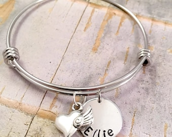 Heart Charm bracelet, Personalized name bracelet, Name bracelet, for daughter, best friend, adjustable bangle, stainless steel bracelet