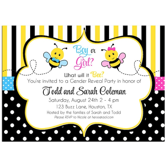 Bee Gender Reveal Invitation Printable or Printed with FREE