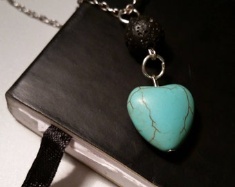 Turquoise Lave Bead Diffuser Necklace