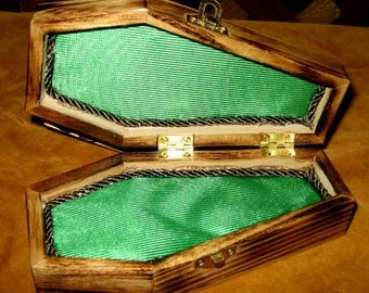 Gothic Coffin Jewerly Box Green & Sage