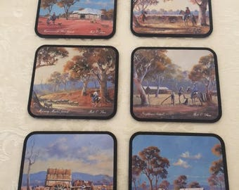 Country Western Coasters, Set of 6 Vintage Bill O'Shea Western Themed Coasters