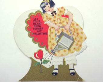 Vintage Children's Valentine with Cute Girl in Dress Watering Can Heart Flower Gold Gilded