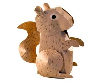 Paper Squirrel Box DIY Papercrafting Kit