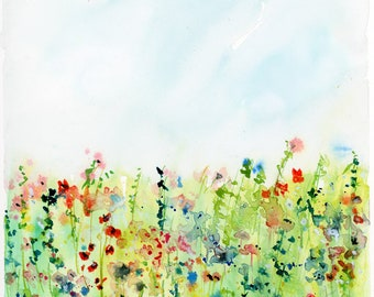 Watercolor Floral Print, Abstract Landscape, Fine Art Print, Wildflower Art, Modern Art Print, Garden Print, Minimalist
