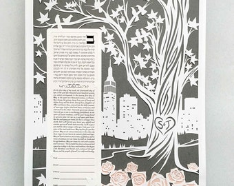 Papercut Ketubah  NYC Skyline With Roses - Neutral Tones