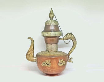 Antique Chinese Teapot - Qing Dynasty - Copper Silver Tone - Dragon Teapot