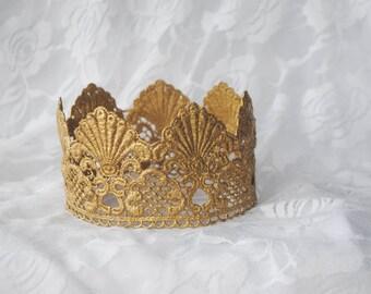 """Gold Mermaid Princess Lace Crown - """"Mermaid Crown"""" - fairy tale, halloween, birthday crown, bridal crown, queen"""