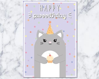 Happy Purrrthday! : Birthdaycard - DIGITAL DOWNLOAD