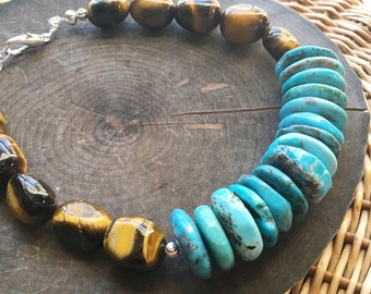Stone choker necklace, turquoise and Tiger Eye stone choker necklace, beaded stone choker, adjustable gemstone choker necklace