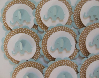 Elephant Cupcake Toppers - Blue, Tan Polka Dots and White - Boy Baby Shower Decorations - Boy Birthday Party Decorations - Set of 12