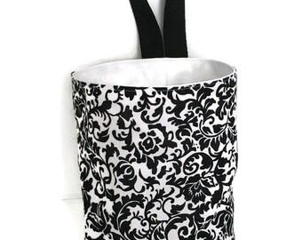 CarTrash Bag//Black Scroll Damask//Car Caddy//Portable Trash Bag//Gear Shift Bag//Waterproof Trash Bag//BackSeat Hanging Bag//Car Litter Bag