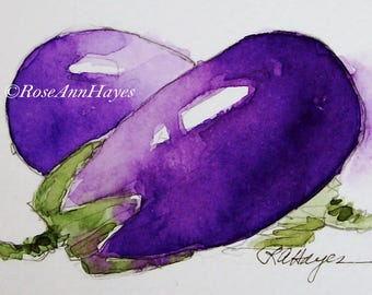 Original Watercolor Painting Eggplant Vegetable Garden Veggie Still Life ACEO