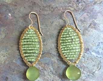 Peridot and green chalcedony gemstone gold statement hoop earrings