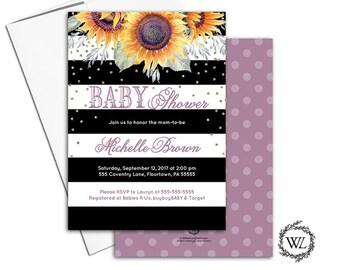 Sunflower baby shower invitation sunflower baby shower invites fall autumn black white purple yellow stripes, printable printed - WLP00651