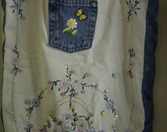 Vintage Embroidered One-Of-A-Kind Denim Tote