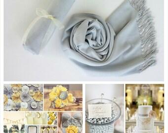 LIGHT GRAY ( Silver Gray ) Pashminas. Bridesmaid Silver Gray Shawl. Pashmina Scarf. Wedding Favor