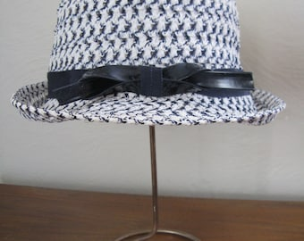 60s Black and White Woven Hat