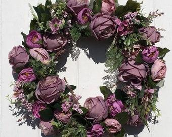 Vintage Peony Purple Door Wreath, Summer decor, Cottage Garden,