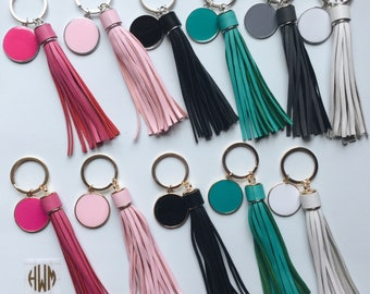 Monogram keychain, Long tassel keychain, monogram long tassel keychain, custom monogram long leather tassel keychain, tassel keychain