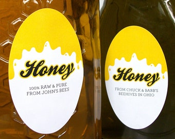 CUSTOM large OVAL Liquid Gold Honey canning jar & bottle labels for backyard beekeeper gift, personalized yellow stickers for mason jars