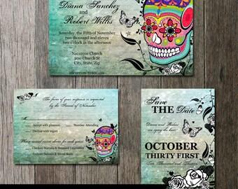 Skull Wedding Invitation Set, Sugar Skull Invite, Day of the Dead,  Dia De Los Muertos, Digital Printable Wedding Invitation, Offbeat Invite