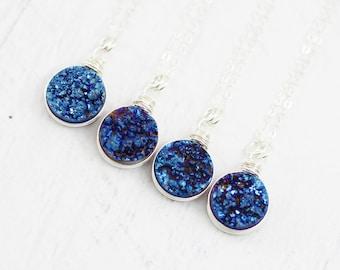 Blue Topaz Necklace, Statement Necklace, Thin Blue Line, Blue, Gemstone Necklace, Necklace, Gemstone Jewelry, Gemstone Pendant, Gemstone