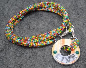 "Beaded Wrap Bracelet Necklace - Multicolored Bright Colorful Rainbow - Detachable Washer ""Live"" Charm by randomcreative on Etsy"