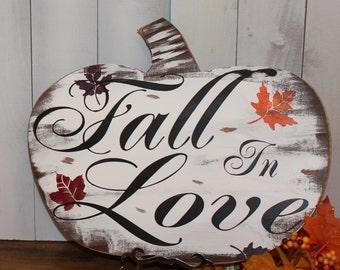 FALL in LOVE Sign/Pumpkin/Wedding Sign/Romantic Fall Sign/Fall Leaves/Wood Sign/Fall Wedding/Autumn Wedding