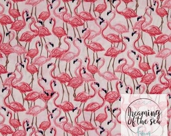 Timeless Treasures Flamingos on Pink Fabric // Quilting Cotton // Cotton Woven // 100% cotton // Flamingo Fabric