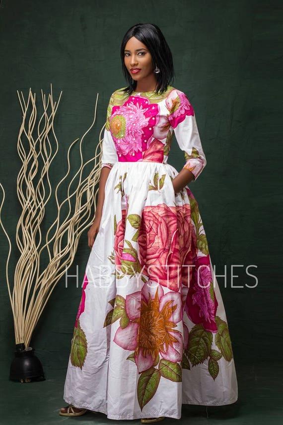 robe laura maxi dress avec poches robe africaine longue. Black Bedroom Furniture Sets. Home Design Ideas
