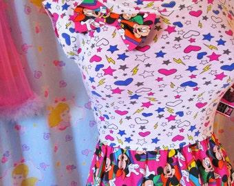 Mickey Minnie Mouse dress, fairy kei 90s retro dress disneybound size small S