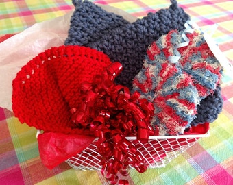 New Item! Kitchen Gift Basket Sale!  Summer Sizzling Sale, Hand knit/Crocheted Pot Holders/Hot Pads, Dishcloths, Scrubbies, Country Goods