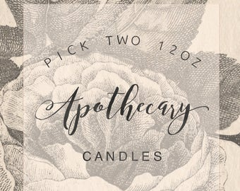Pick Two 12oz Apothecary Candles || Soy Candles