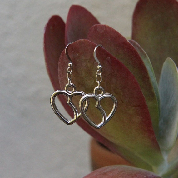 Kidney-Heart Earrings - silver-plated charms
