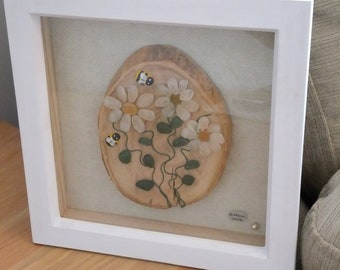 Seaham sea glass 'beach art' picture...'Daisies and  Bees'.