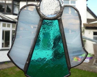 Stained Glass Christmas Angel, with turquoise dress