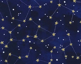 Constellation Midnight METALLIC by Michael Miller - Sky Stars Navy Blue Gold - Quilting Cotton Fabric - choose your cut