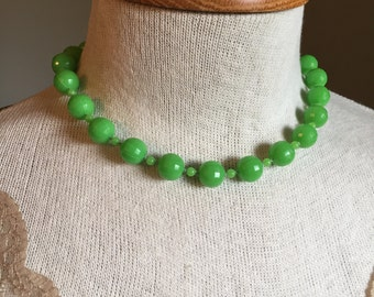 Vintage green bead necklace