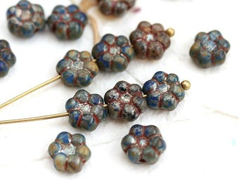 8mm Rustic Blue Flower beads, Picasso czech pressed glass beads, daisy flower - 20pc - 2950
