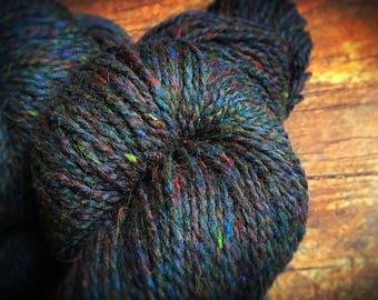 Black wool knitting yarn - Bonnie Blue Gap - dark blue - crochet yarn - Peace Fleece