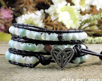 Leather Bracelet, Blue Amazonite, Celtic Heart, Vintage Brown Leather, Light Blue, Wrap Bracelet