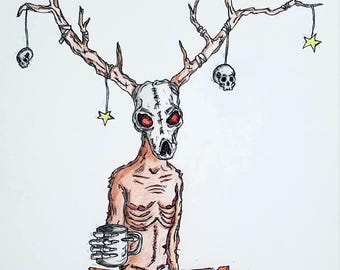 Coffee Monster - art print - wendigo - folklore - coffee - lowbrow art - 11x14