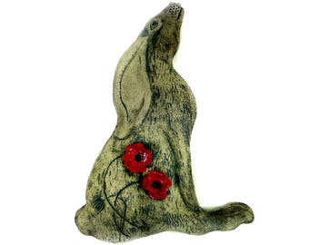 Large Sculptural Art Hare Plaque With Poppy Flowers (Ears Down) by Maggie Betley Zoo Ceramics - Slab Built + Hand Carved British Design