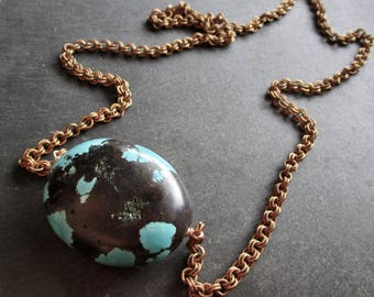 Dragon skin Turquoise ABACUS Vintage Brass Chain Necklace - Statement - Etsy Jewelry - catROCKS - Grace Frankie - OOAK - Teal Black - Bronze