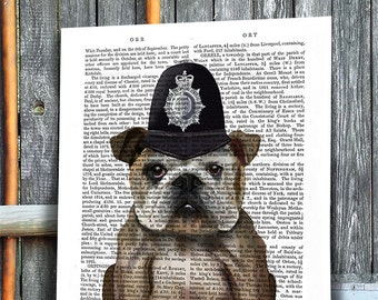 English Bulldog Art London Policeman  London Print London Poster English Bulldog Print Police Officer gift for London Decor Bulldog wall art