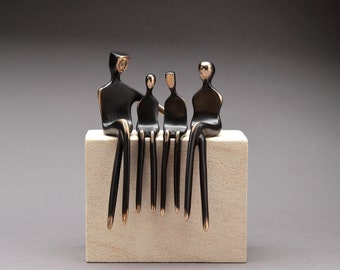 Bronze Family of Four | Bronze Sculpture | Family Portrait | 8th Anniversary Gift | Elegant Contemporary Art | Handmade by Yenny Cocq