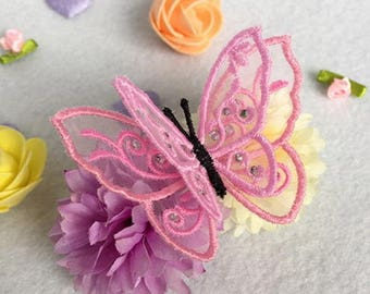 3D Organza Butterfly 2 Machine Embroidery Designs Instant Download 4x4 hoop 10 designs APE2544