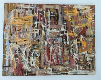 Original Abstract Painting, Acrylic & Canvas, Houses